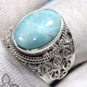 Silver oval moonstone womens ring